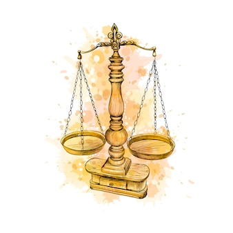 Vintage old scale, law scales from a splash of watercolor, hand drawn sketch. symbol of justice