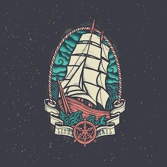 Vintage old school pirate ship illustration