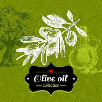 Урожай оливковый фон с рисованной иллюстрации эскиз и цветочный узор. дизайн упаковки