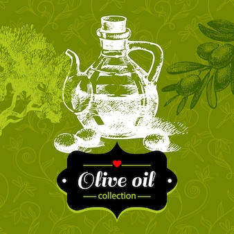 Vintage olive background with hand drawn sketch illustration and floral pattern. design of package