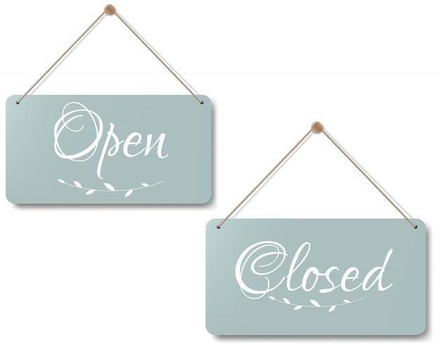 ビンテージのオープンとクローズの記号白い背景