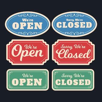 Винтажная открытая и закрытая вывеска Бесплатные векторы