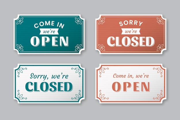 Vintage open and closed signboard collection