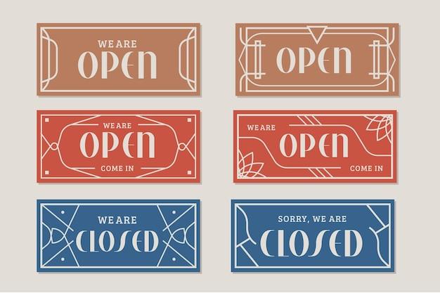 Collezione vintage di cartello aperto e chiuso