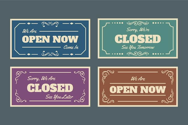 Vintage open and closed signboard pack