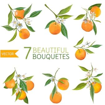 빈티지 오렌지, 꽃과 잎. 오렌지 부케
