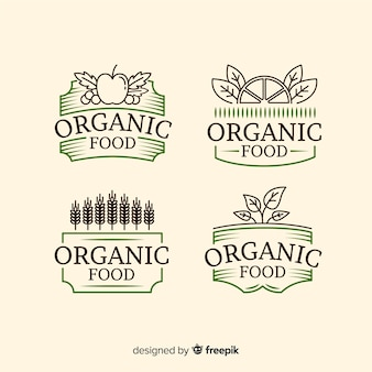 Vintage organic food label collection