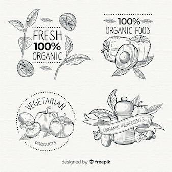Confezione di etichette vintage per alimenti biologici