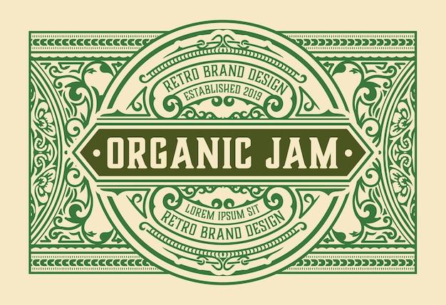 Винтажная этикетка для органического джема с цветочными элементами