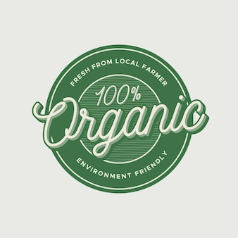 Vintage organic label and badge template with text style effect