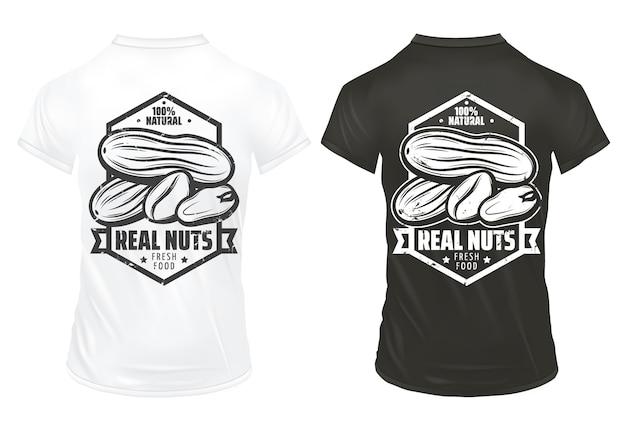 ヴィンテージの有機ナッツプリントテンプレート分離された黒と白のシャツにレタリングとピーナッツ