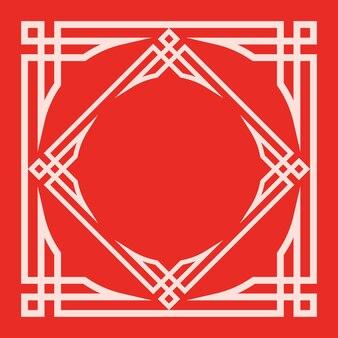 Vintage oriental ornament frame on red background
