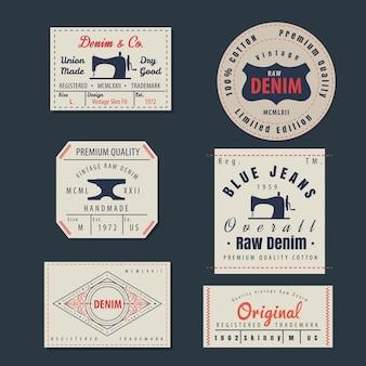 Vintage original blue jeans raw denim labels