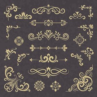 빈티지 장식입니다. 테두리 구분선 화려한 빅토리아 스타일 꽃 결혼식 처마 장식 벡터 인쇄 술 세트. 일러스트 웨딩 붓글씨, 꽃 프레임 서예