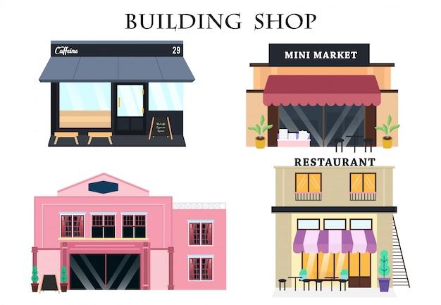 Vintage ornament building shop with flat design