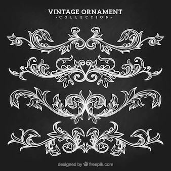Vintage ornament collection with blackboard style