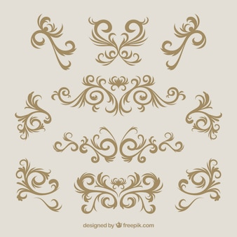 Vintage ornament collection with golden style