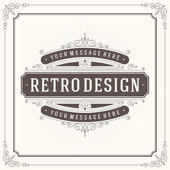 Старинный орнамент поздравительной открытки каллиграфический дизайн шаблона