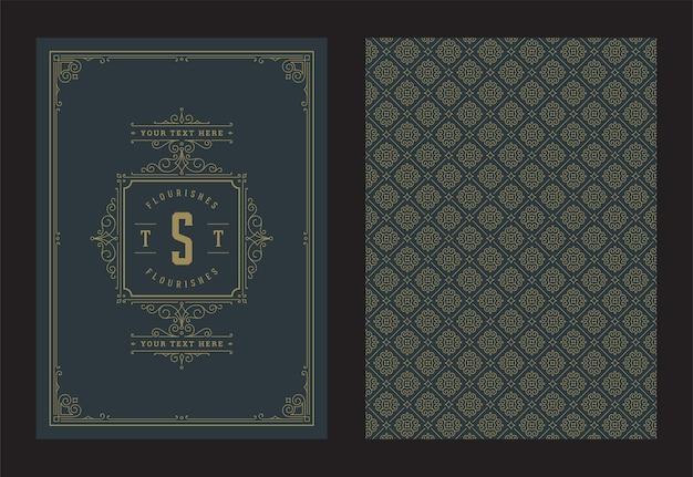 ヴィンテージ飾りグリーティングカード書道華やかな渦巻きとビネットフレームデザイン