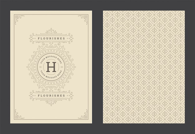 Vintage ornament greeting card calligraphic ornate swirls and vignettes frame design vector