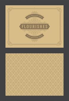 Винтажные украшения поздравительной открытки каллиграфические витиеватые виньетки шаблон дизайна вектор
