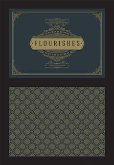 ビンテージ飾りグリーティングカード書道の華やかなビネットフレームデザインベクトルテンプレート