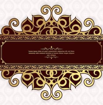 Шаблон поздравительной открытки старинный орнамент. цветет орнаментальная рамка