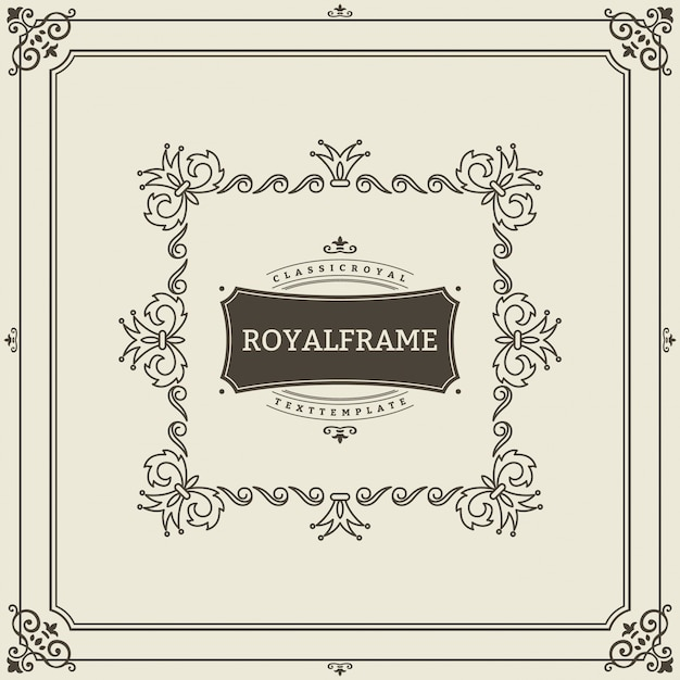 Vintage ornament greeting card template. retro luxury invitation, royal certificate. flourishes frame.