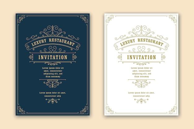 Шаблон поздравительной открытки старинный орнамент. ретро свадебные приглашения, реклама или другой дизайн и место для текста. процветает декоративная рамка и узор фона.