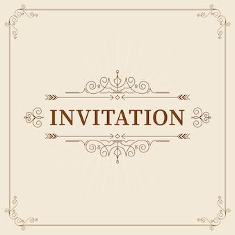 ヴィンテージ飾りグリーティングカードテンプレート。レトロな結婚式の招待状、広告、その他のデザインとテキストの場所。フレームを繁栄させます。
