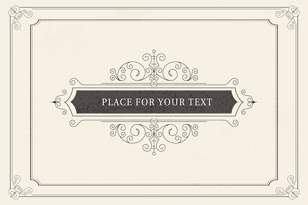 Vintage ornament greeting card template. retro wedding invitations, advertising or other design and place for text. flourishes frame.