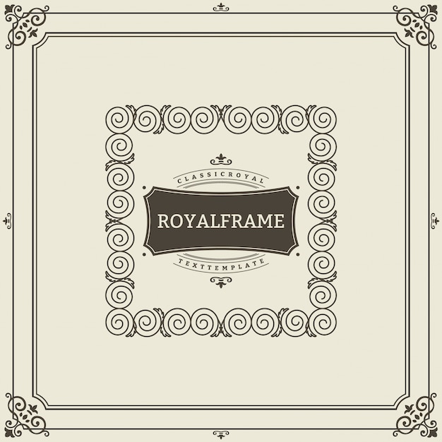 Vintage ornament greeting card vector template. retro luxury invitation, royal certificate. flourishes frame. vintage ornament, ornamental frame
