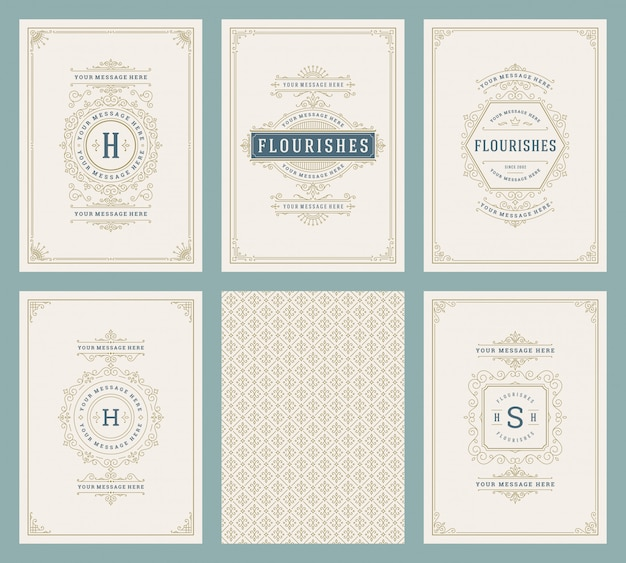 Vintage ornament greeting cards set vector templates
