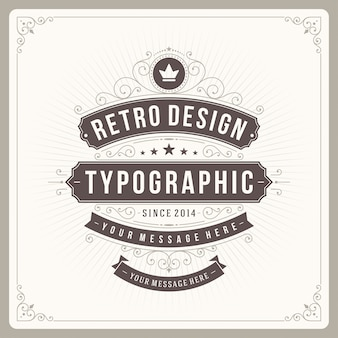 Vintage ornament label with typography