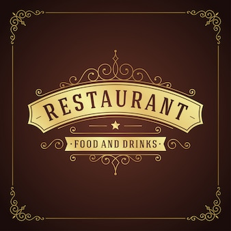 Винтажный орнамент ресторана sigboard