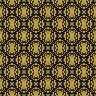 ヴィンテージ飾りシームレスパターンダマスクゴールドの華やかなビネットまんじ