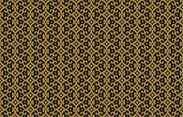 Vintage ornament seamless pattern damask gold ornate vignettes swirls