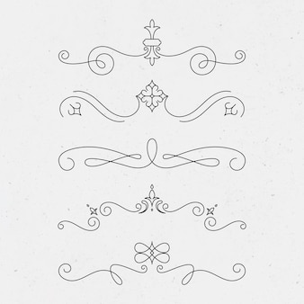 黒で設定されたヴィンテージ飾りベクトル