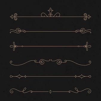 豪華な金で設定されたヴィンテージ飾りベクトル
