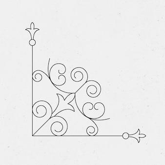 Старинный декоративный угловой вектор в черном