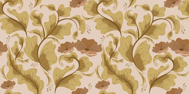Vintage ornamental damask floral seamless pattern