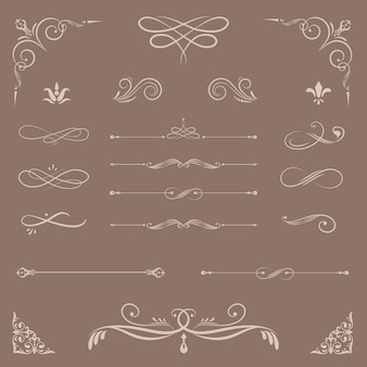 Vintage ornamental design elements