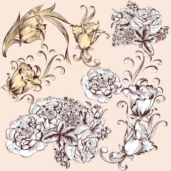 Vintage ornamental floral elements