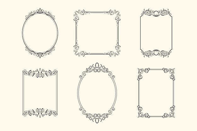 Vintage ornamental frame set