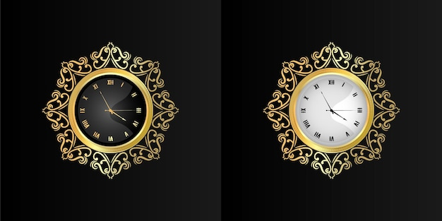 Vintage ornamental gold wall clock face retro
