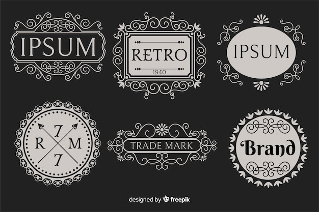 Vintage ornamental logo collection
