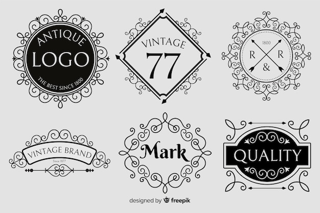 Vintage ornamental logo set