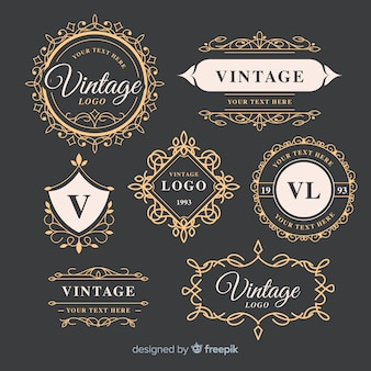 Vintage ornamental logos collection template