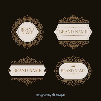 Vintage ornamental logos pack