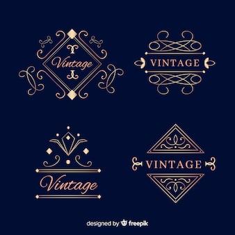 Vintage ornamental logos set